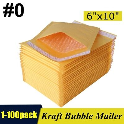 0 6x10 Kraft Bubble Mailers Padded Self Seal Shipping Bags Envelopes 1-100