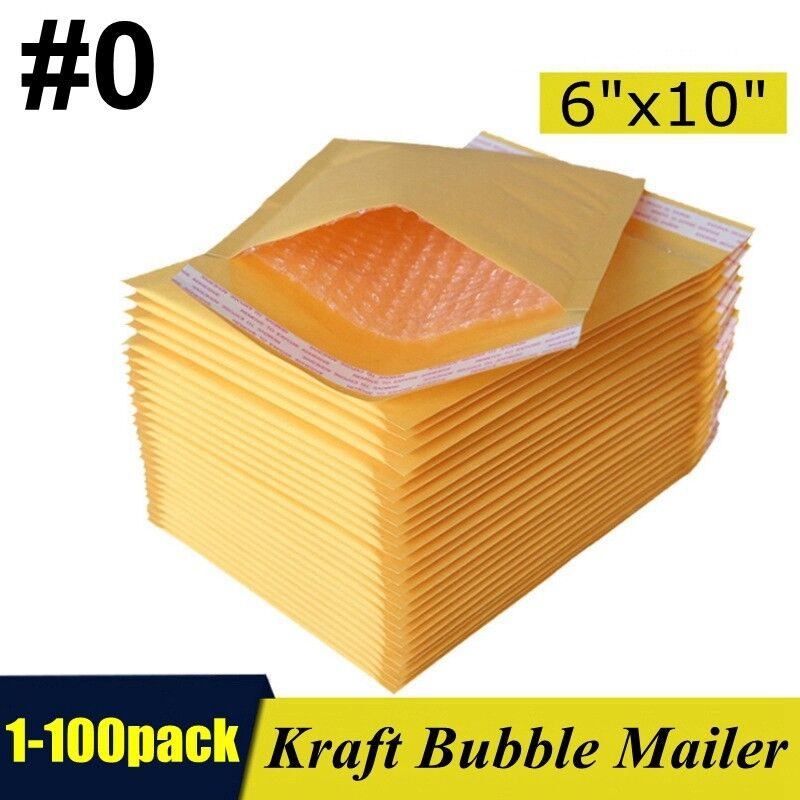"#0 6""x10"" Kraft Bubble Mailers Padded Self Seal Shipping Bags Envelopes 1-100"