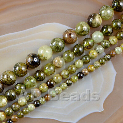 "Natural Green Garnet Smooth Round Gemstone Loose Beads 15.5""  4mm 6mm 8mm 10mm"