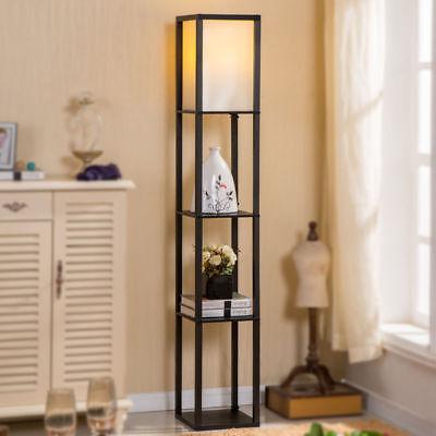 Shelf Wood Minimum Light White Fabric Shade Lamp Storage Living Room Home Office