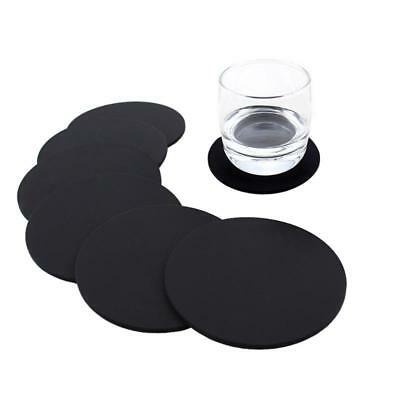 Silicone Drink Coasters Cup Mat Cup Costers Tableware Black with holder Set of 6