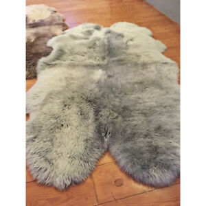 Amazing FOUR pelt genuine Sheepskin rugs - light gray or brown