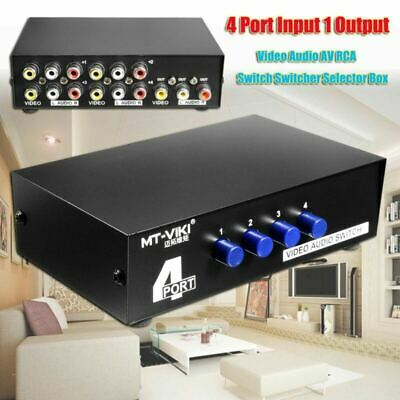AV Switch Box Composite Selector 4 Port RCA Audio Video 4 In 1 Out To TV NEW【US】 2 Out Composite Video