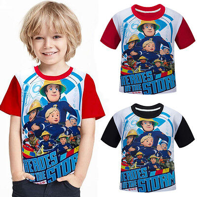 Kids Boys Girl Fireman Sam Costume Cotton Clothes Tops Summer T-shirt Tee Shirts