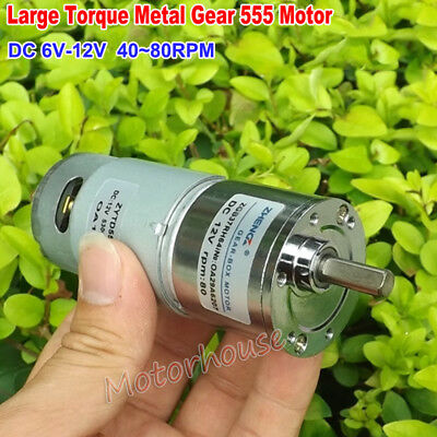 Dc 6v-12v 80rpm Micro 555 Full Metal Gear Motor Gearbox Large Torque Low Speed