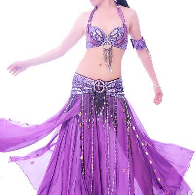C91806 Bauchtanz Kostüm 2 Teile BH und Gürtel  Belly Dance Royal Vivid