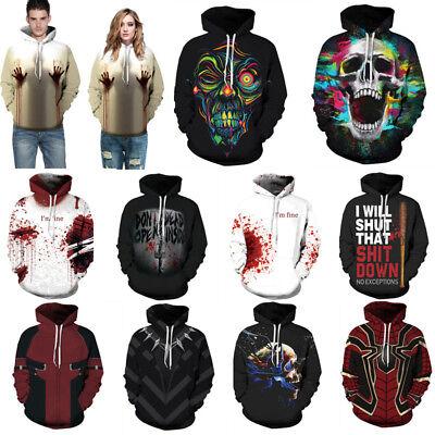 Women Men Halloween Theme 3D Print Sweatshirt Pullover Hoodie Skull Sweater (Halloween 3d Theme)