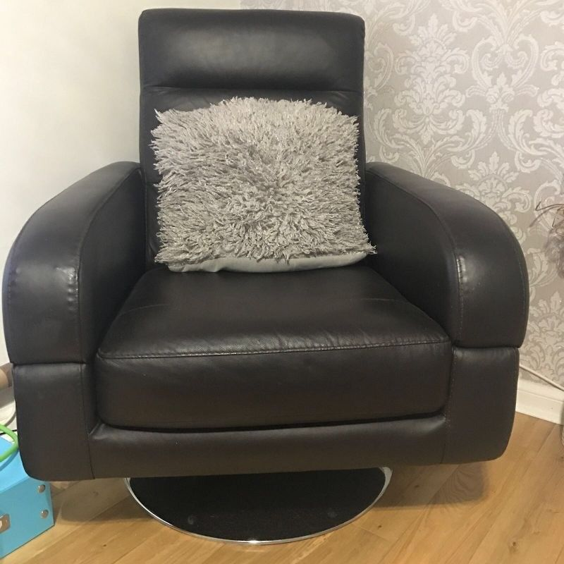 Brown Italian leather swivel chair