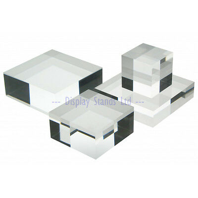 Solid acrylic display blocks diamond polished for Jewellery and counter display