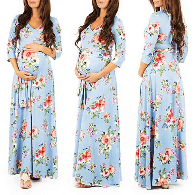 Lace Flower Pregnant Women Long Dress Maternity Gown Photography Props Clothes