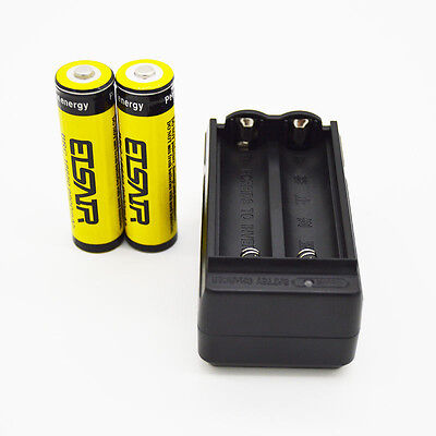 2pcs 18650 3.7V 9900mAh Rechargeable Li-ion Battery Batteries + Charger From USA