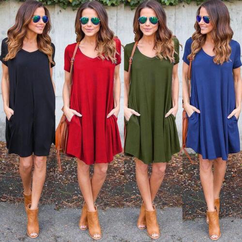 Damen Kurzarm Kleid Tunika Minikleid Sommer Strandkleid Tasche Freizeitkleider
