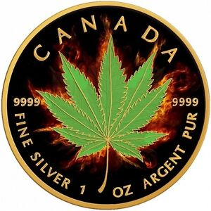 BURNING INDICA - 2017 1 oz Pure Silver Maple Leaf Coin