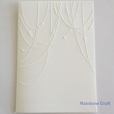 5 Embossed Cards & Envelope Beaded Garland Wedding invitations party invitation
