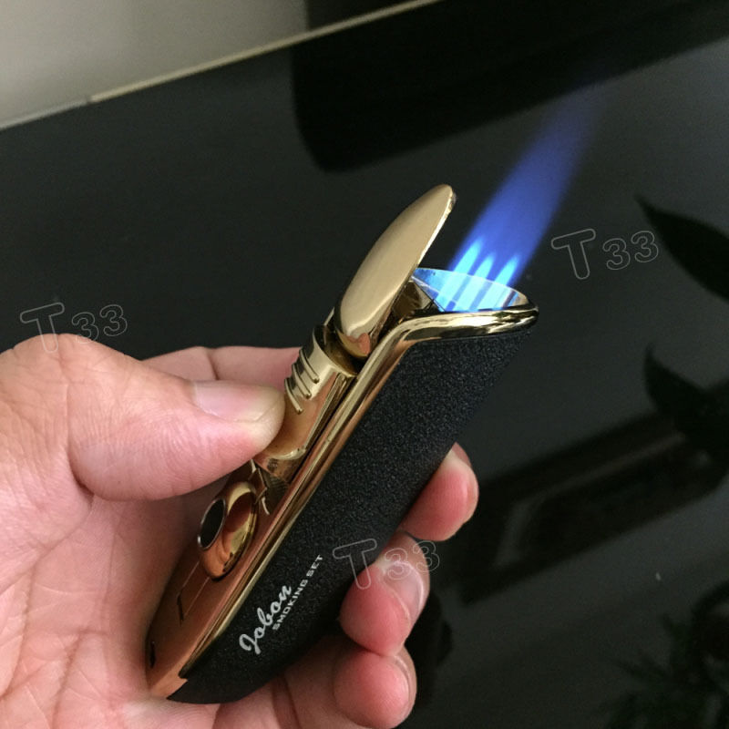 Triple Jet Flame Cigarette Cigar Butane Torch Windproof Gas Refillable Lighter