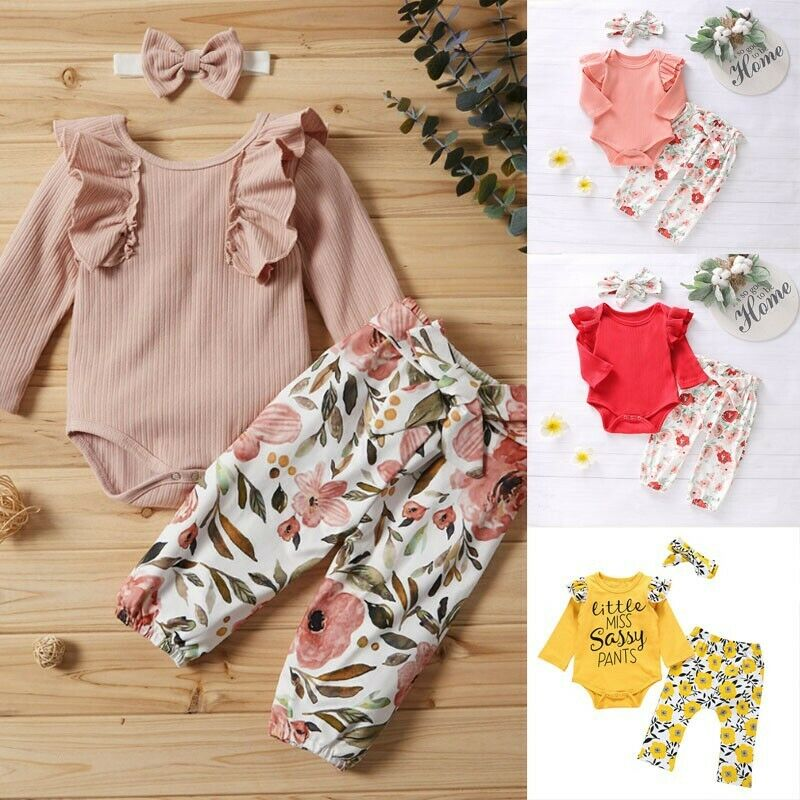 Newborn Infant Baby Girls Letter Romper Jumpsuit Headband Outfits Clothes Set UK