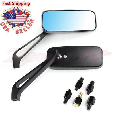 Universal Rectangle Smoke Blue Motorcycle Rearview Side Mirrors 8mm 10mm Black
