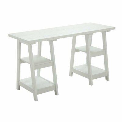 Convenience Concepts Designs2Go Double Trestle Desk in White