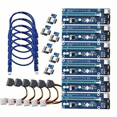 6X USB3.0 PCI-E Express 1x To16x Extender Riser Card Adapter Power Cable Bitcoin