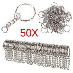 50PCS 25mm Polished Silver Keyring Keychain Split Ring Short Chain Key Rings HL