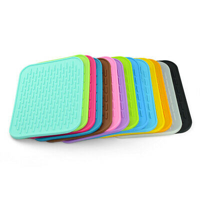 Rectangle Heat Resistant Mat Silicone Non-slip Pot Pan Holder Pad Kitchen (Silicone Hot Pad)