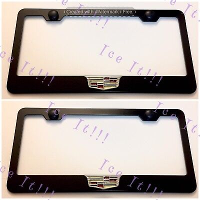 2X 3D For Cadillac ATS CTS SRX Emblem Black Stainless Steel License Plate Frame