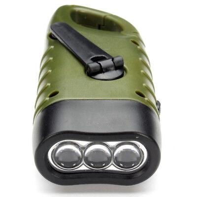 Mini Emergency Hand Crank Dynamo Solar Flashlight Rechargeable LED Light La S3D3