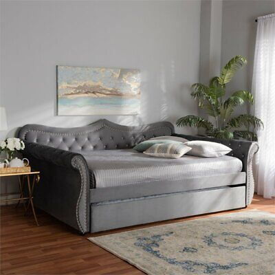 Baxton Studio Abbie Gray Velvet Crystal Tufted Queen Size Daybed with Trundle