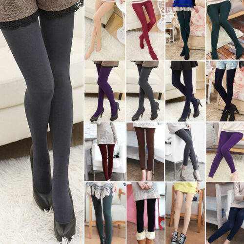 Women's Fleece Lined Warm Thick Thermal Full Foot Tights Lad