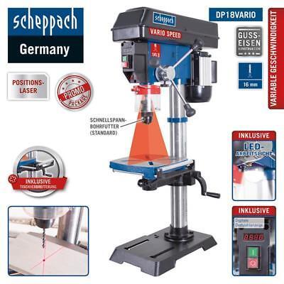 Scheppach Tischbohrmaschine DP18Vario Säulenbohrmaschine 550W Standbohrmaschine