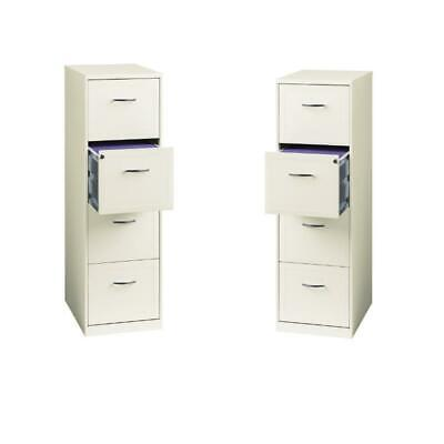 Value Pack Set Of 2 4 Drawer Smart File Cabinet In Pearl White