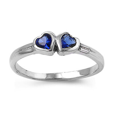 .925 Sterling Silver Simulated Sapphire Heart Love Promise Ring Size 1-5 NEW Simulated Sapphire Heart Ring