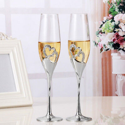 2pcs Set Wine Glass Goblet Heart Shaped Durable For Wedding Engagement Champagne](Champagne Glasses For Wedding)
