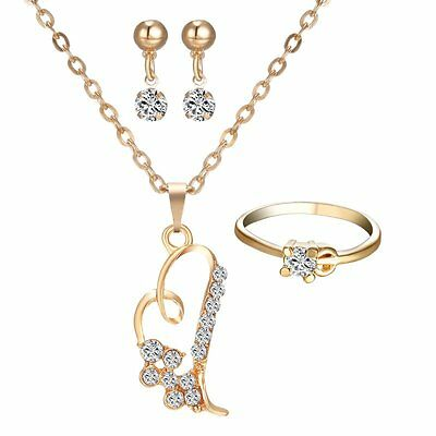 Women Love Wedding Jewelry Set Heart 18K Yellow Gold gp Necklace Earrings Ring