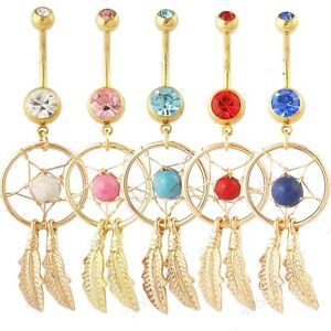 Gold-Plated-CZ-Gem-Dream-Catcher-Belly-Bar-Navel-Ring