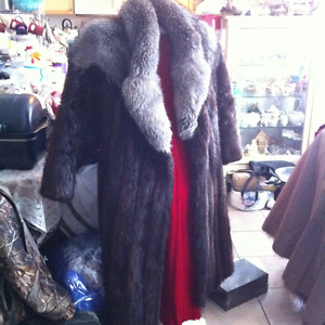 Beaver  Coat with  Silver fox collar   Womans Long Fur Coat