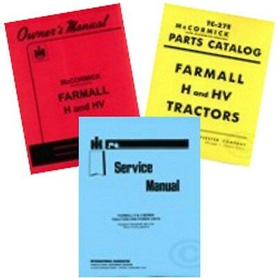 Farmall H Hv Service Operators Owners Parts Manual Ih