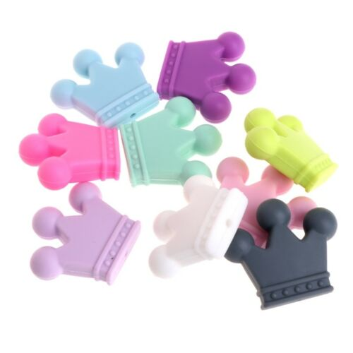 5 X Silicone Beads Pendant Crown Shape Baby Teether Relief P