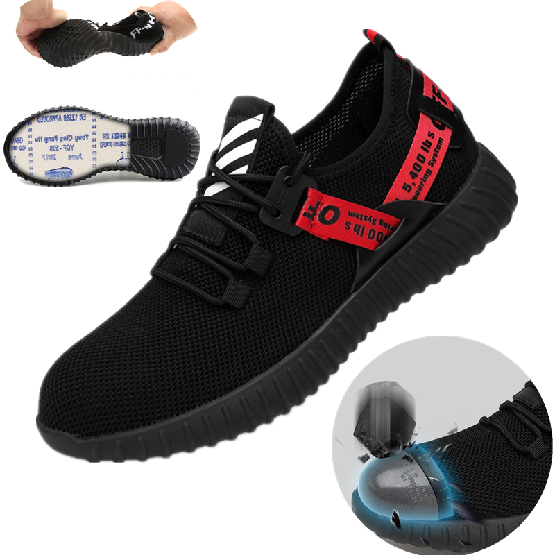 Mens Steel Toe Lightweight Safety Shoes Work Boots Sports Hiking Trainers Shoes
