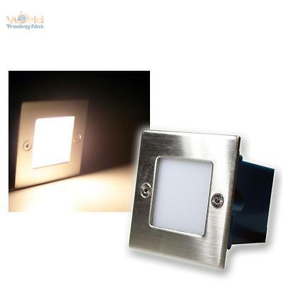 LED De Pared Lámpara Empotrable, Foco Escalera 230V Blanco Cálido Frente Acero
