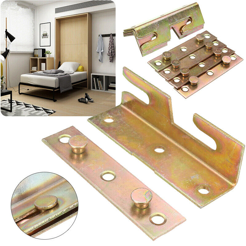 4 Sets Furniture Wood Bed Rail Bracket Fitting Snap Connecto