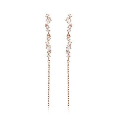 [STONE HENGE] Silver 925 Rose Gold Line Cubic Earrings SC0996 with Case K-beauty