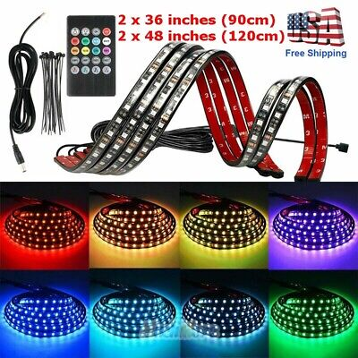 RGB 252 LED Strip Under Car Tube Underglow Underbody System 4Pcs Neon Lights Kit