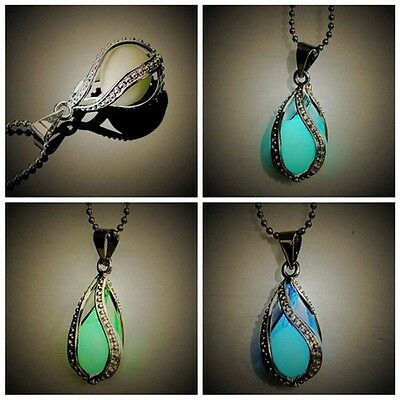 Mode Chic Little Mermaid's Teardrop Glow in Dark Pendant Glowing Halskette NEU ()