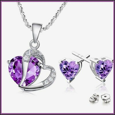 NEW Birthday Gift for Her Girlfriend Wife Mom Heart Pendant Necklace Earrings-US ()