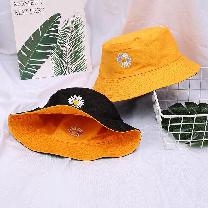 Unisex Reversible Bucket Hat Daisy Sunflower Embroidered Wide Brim Fisherman Cap