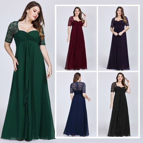 Ever-pretty US Plus Size Half Sleeve Lace Women Long Mother Of The Bride Dresses