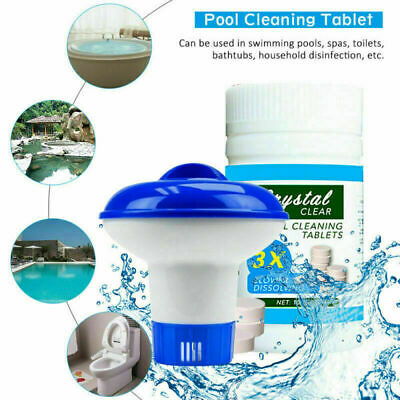 Pool Cleaning Tablet + Floating Chlorine Chemical Dispenser For Tub Swim