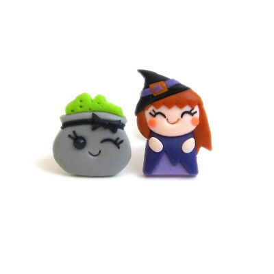 Halloween Costume For Kids Girls Gifts Cute Witch and Cauldron Earrings Jewelry
