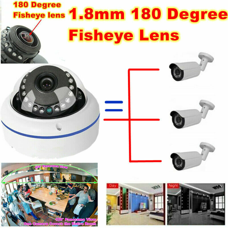 5 pcs 2MP 1080P TVI AHD CVI Security Camera 180 Degree Wide Angle Fisheye Dome
